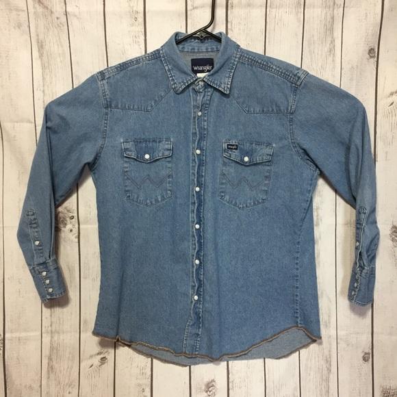 62908c02 Wrangler Chambray Mens L Jean Pearl Snap Shirt. M_5c79a747194dad33036a6328